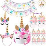 Bestus Unicorn Birthday Party Set/ Handmade Gold Unicorn Horn Cake Topper with unicorn cupcake toppers and happy…