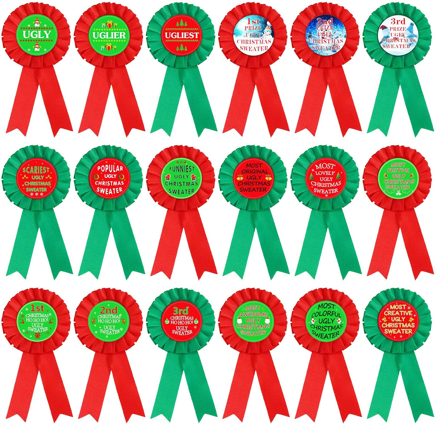 Aneco 18 Pieces Ugly Christmas Sweater Award Ribbons Xmas Party Contest Prize Pins Ornaments Decorations 18 Award Designs for Holiday Party Game,