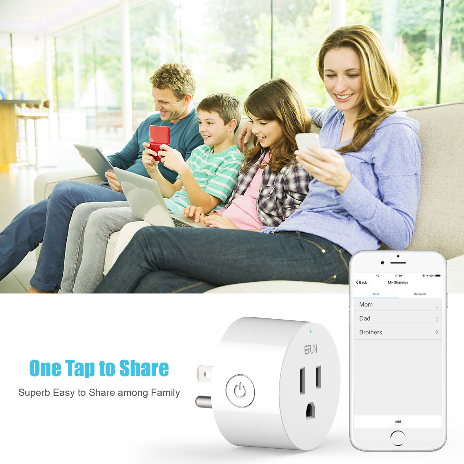 EFUN SH330W 2 PACK Wi-Fi Smart Plug Outlet,No Hub Required,Overload Protection,Fire Retardant Material,Space Saving,Works with Alexa and Google Assistant by EFUN (Image #7)