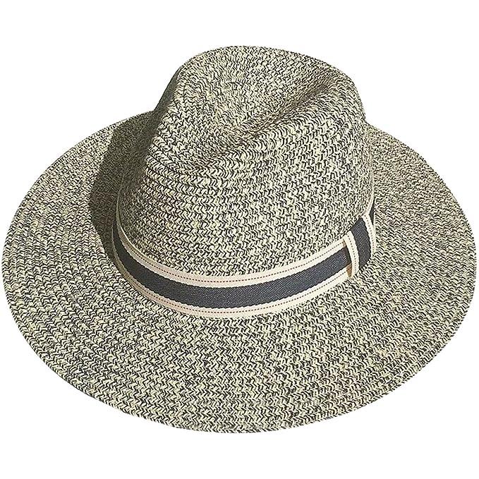 5508f8b00c630 Lanzom Men Women Wide Brim Straw Panama Roll up Hat Contrast Color Fedora  Beach Sun Hat (Beige