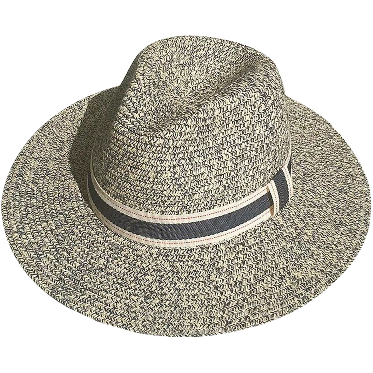6936bb7e2e438a JOYEBUY Women Wide Brim Contrast Color Fedora Beach Sun Hat Straw Panama  Foldable Roll up Hat (Navy, One Size) at Amazon Women's Clothing store: