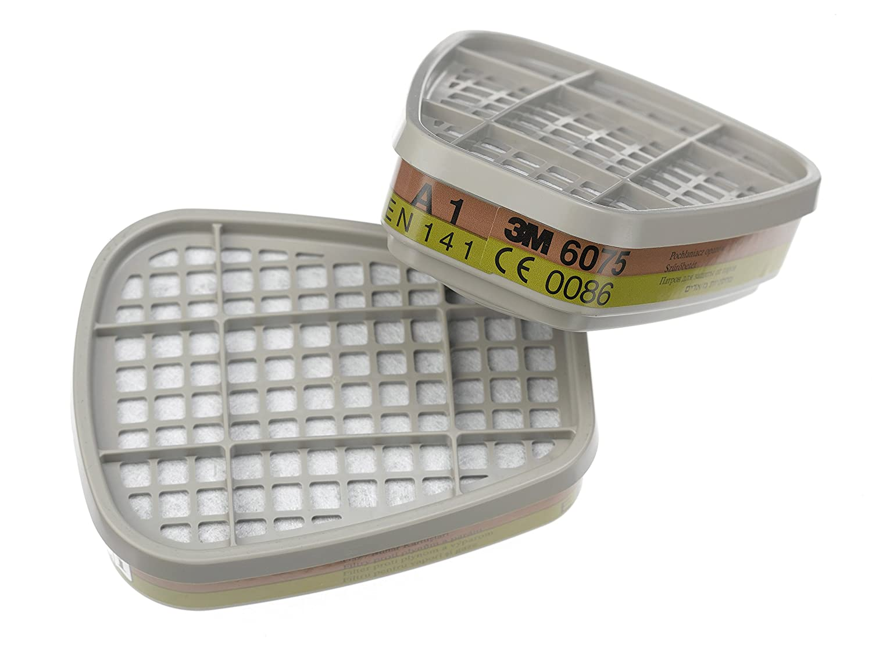 3M K6075 - Caja de 8 filtros antigas (A1, vapores orgánicos y fórmicos), color blanco