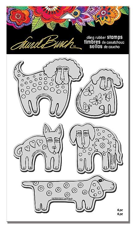 STAMPENDOUS Rubber Set Template Laurel Burch Stamps Dog Park w//Templ