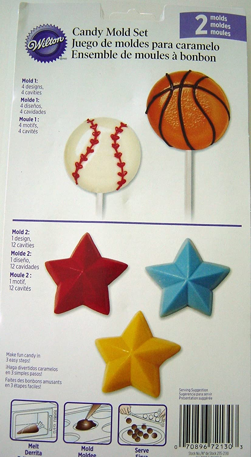 Amazon.com: Wilton Candy 2 Mold Set, Star Sports Candy Lollipop: Candy Making Molds: Kitchen & Dining