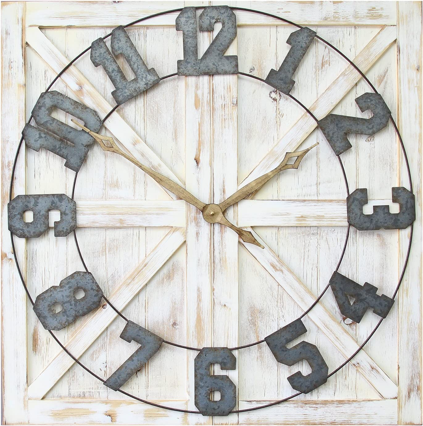 Stratton Home Décor S11545 Rustic Farmhouse Wall Clock 31 50 W X 1 38 D X 31 50 H Distressed White Galvanized Metal Gold Black Home Kitchen