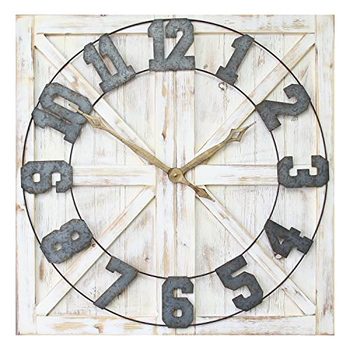 Stratton Home D cor S11545 Rustic Farmhouse Wall Clock, 31.50 W X 1.38 D X 31.50 H, Distressed White, Galvanized Metal, Gold, Black