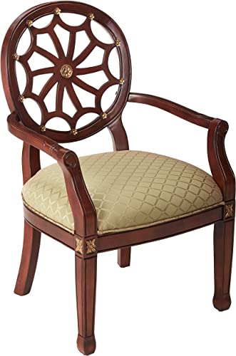 Powell Spider Web Back Accent Chair, Mahogany, Soft Gold