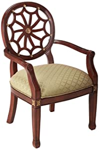 Powell 235-620 Spider Web Back Accent Chair, Mahogany, Soft Gold
