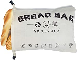 Cotton Linen Bread Bags for Homemade Bread Reusable Large 17.7 Inch x 16.5 Inch Natural Unbleached,Eco-friendly,Food Storage Bread Bags,with Fresh-keeping