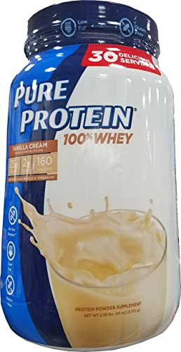 Pure Protein Whey Powder, Vanilla Cream, 2.58 Pound