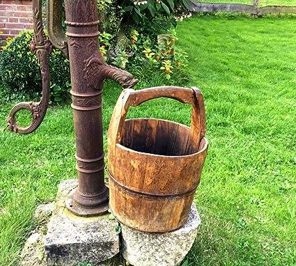 Antikas - cubos de pozo de madera antiguo - cubos de madera medievales - cubo reforzado de herraje en hierro - cubo de madera decoración jardín - macetero: Amazon.es: Jardín