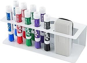 10-Slot Wall-Mounted Metal Dry Erase Marker and Eraser Holder Rack, White