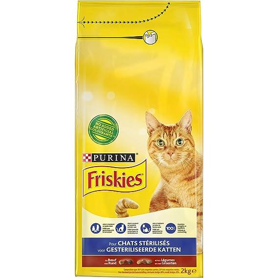 Friskies para Gatos stérilisés AU Ternera y Verduras - 2 kg - Pienso para Gatos Adulto: Amazon.es: Productos para mascotas