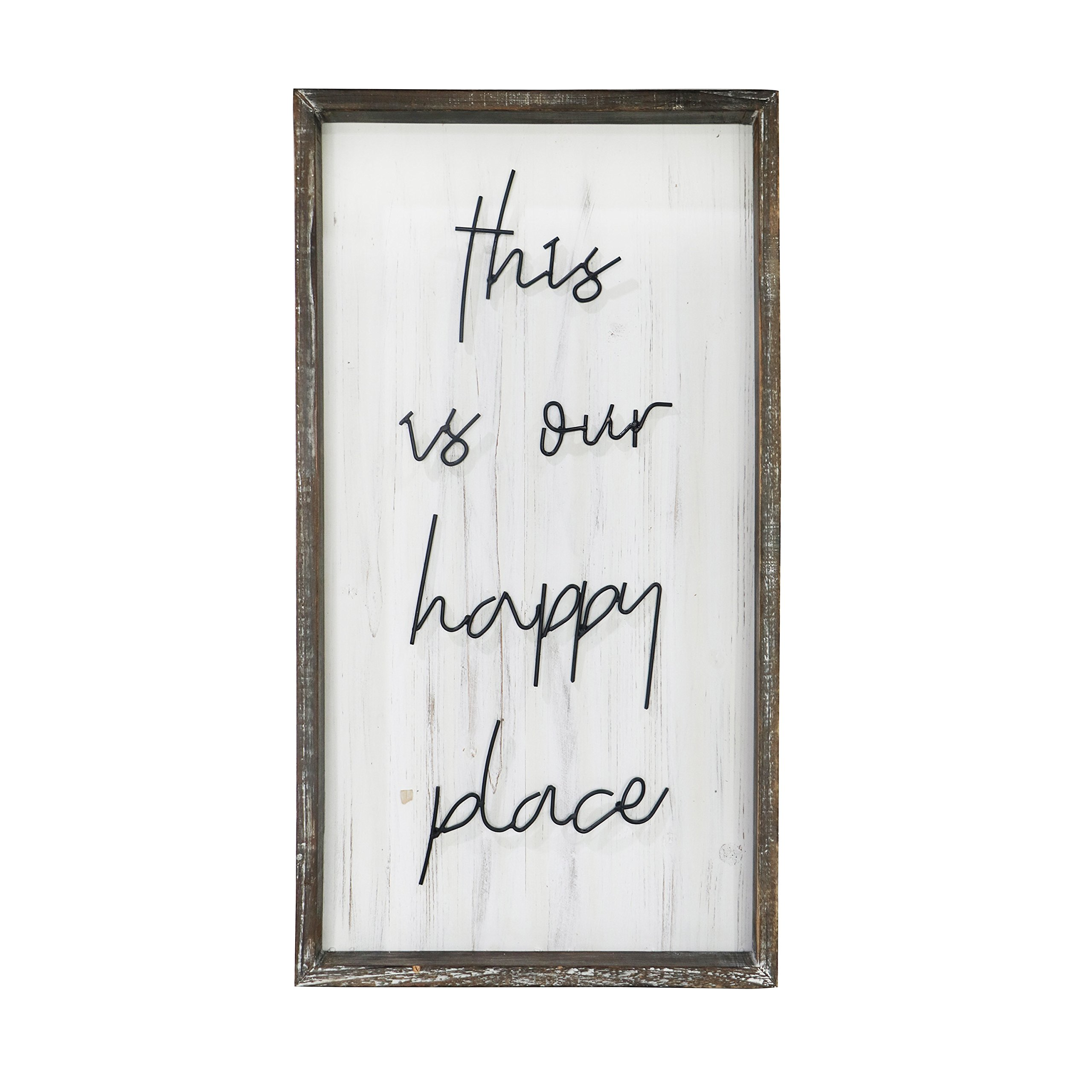 "Barnyard Designs This is Our Happy Place Wall Sign, Rustic Decorative Hanging Wood Sign Home Decor 30'' x 16.5"" by Barnyard Designs"