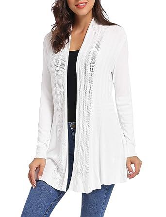 iClosam Gilet Femme Long Tricot Veste Femme Longue Pull Gilet Femme Manches  Longue - Blanc - bb50c73ede33