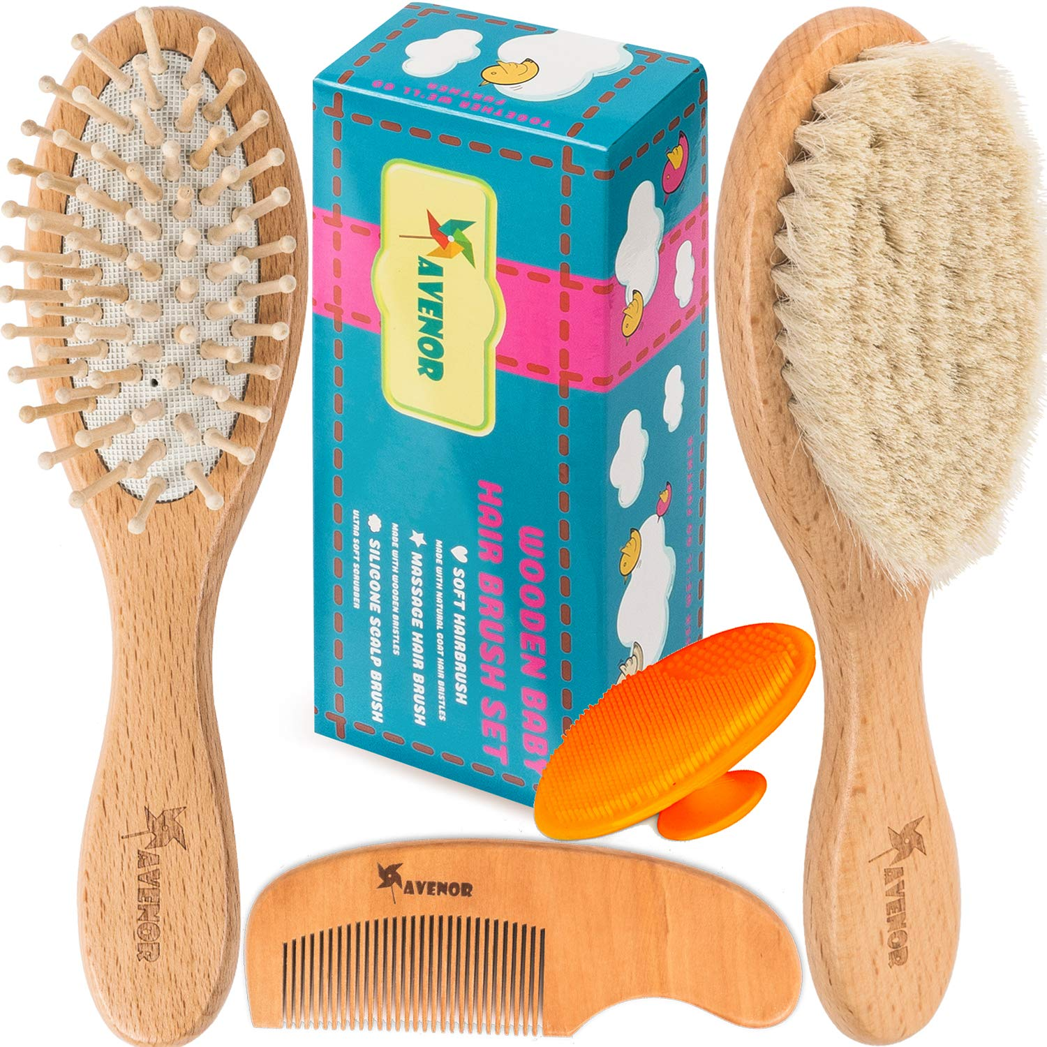 Baby Hair Brush Comb Set - Natural Wooden Hairbrush with Soft Goat Bristles for Cradle Cap - Scalp Grooming Massage for Newborns, Toddlers, Kids - Baby Shower and Registry Gift by Avenor