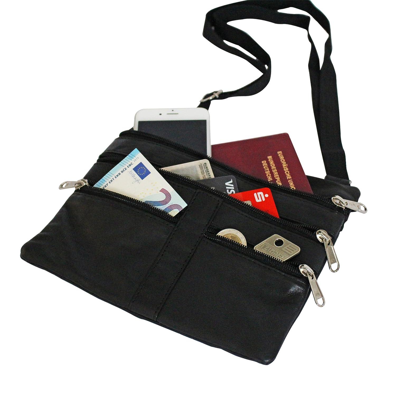 Brustbeutel Leder groß New York für Damen und Herren - BelliBiz - echtes Nappa Leder (schwarz) - Geldbeutel zum Umhängen - Sicherheit für Handy, Geld und Ausweis - Flache, leichte Brusttasche
