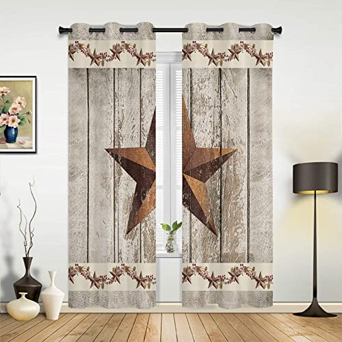 Fandim Fly Grommet Window Curtain Western Texas Star and Primitive Berries on Country Wooden Plank Window Curtains Draperie
