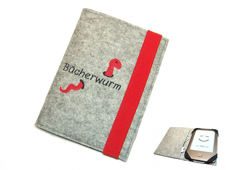 aufklappbare eBook Reader eReader Hülle Bücherwurm inkl. Stickerei, Maßanfertigung Maßanfertigung