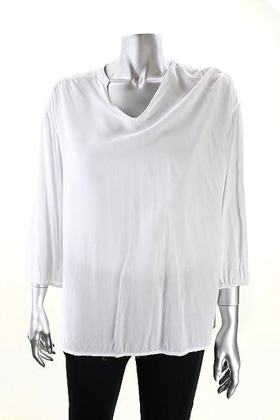 8d0b378c3cf126 Ellen Tracy Women's V-Neck Blouse Medium White at Amazon Women's ...