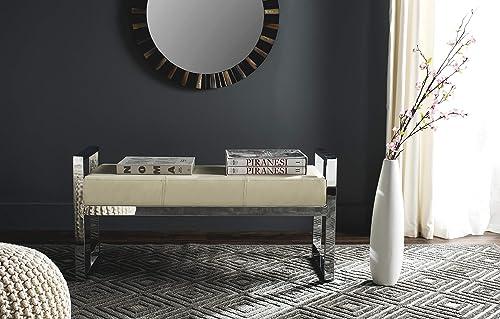 Safavieh Home Collection Slade Modern Glam Cream Bench