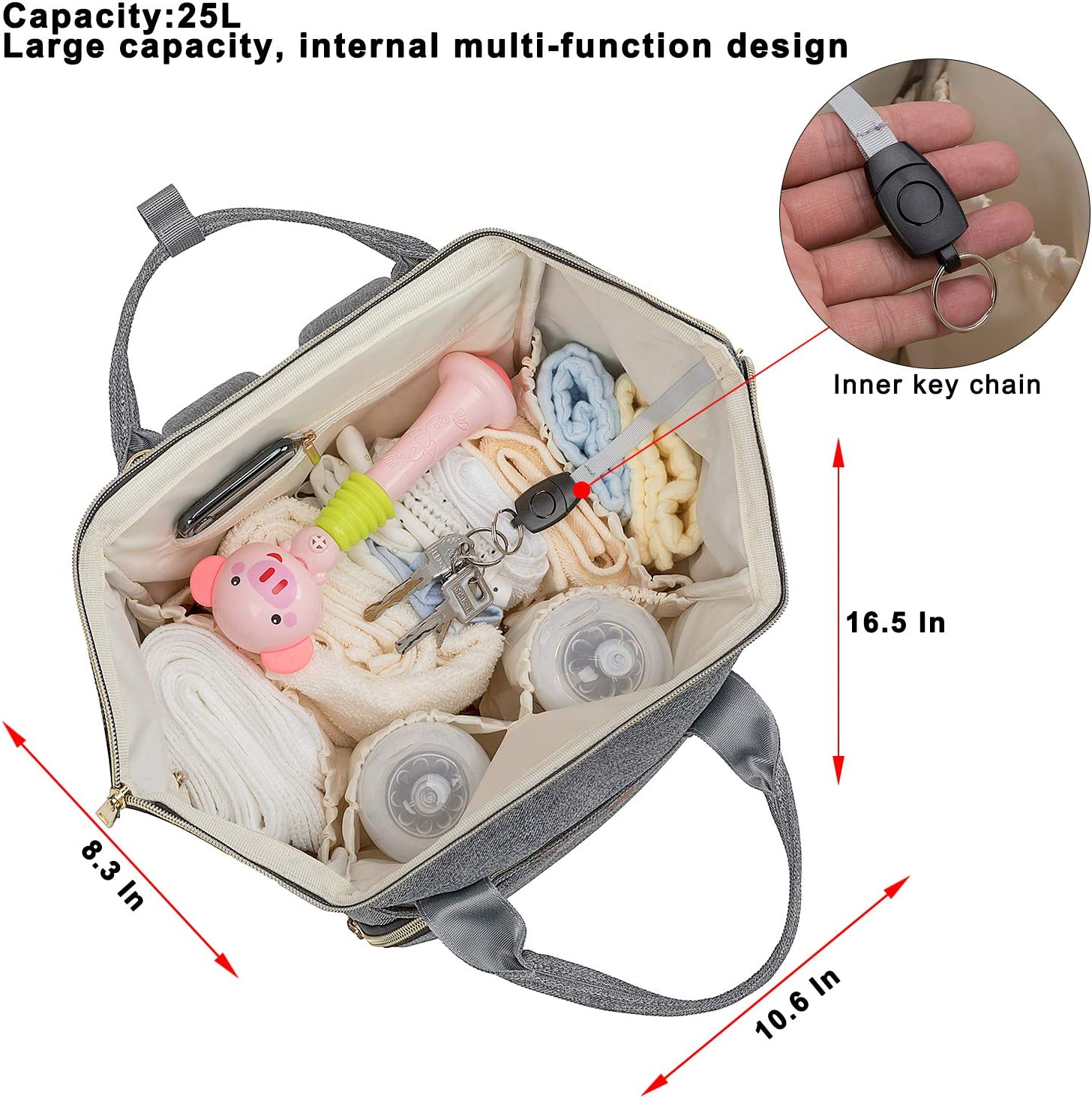 Diaper Bag Backpack with USB Port,Nappy Changing Backpacks with Stroller Straps Grey Multi-Function Waterproof Stylish Tote Bag