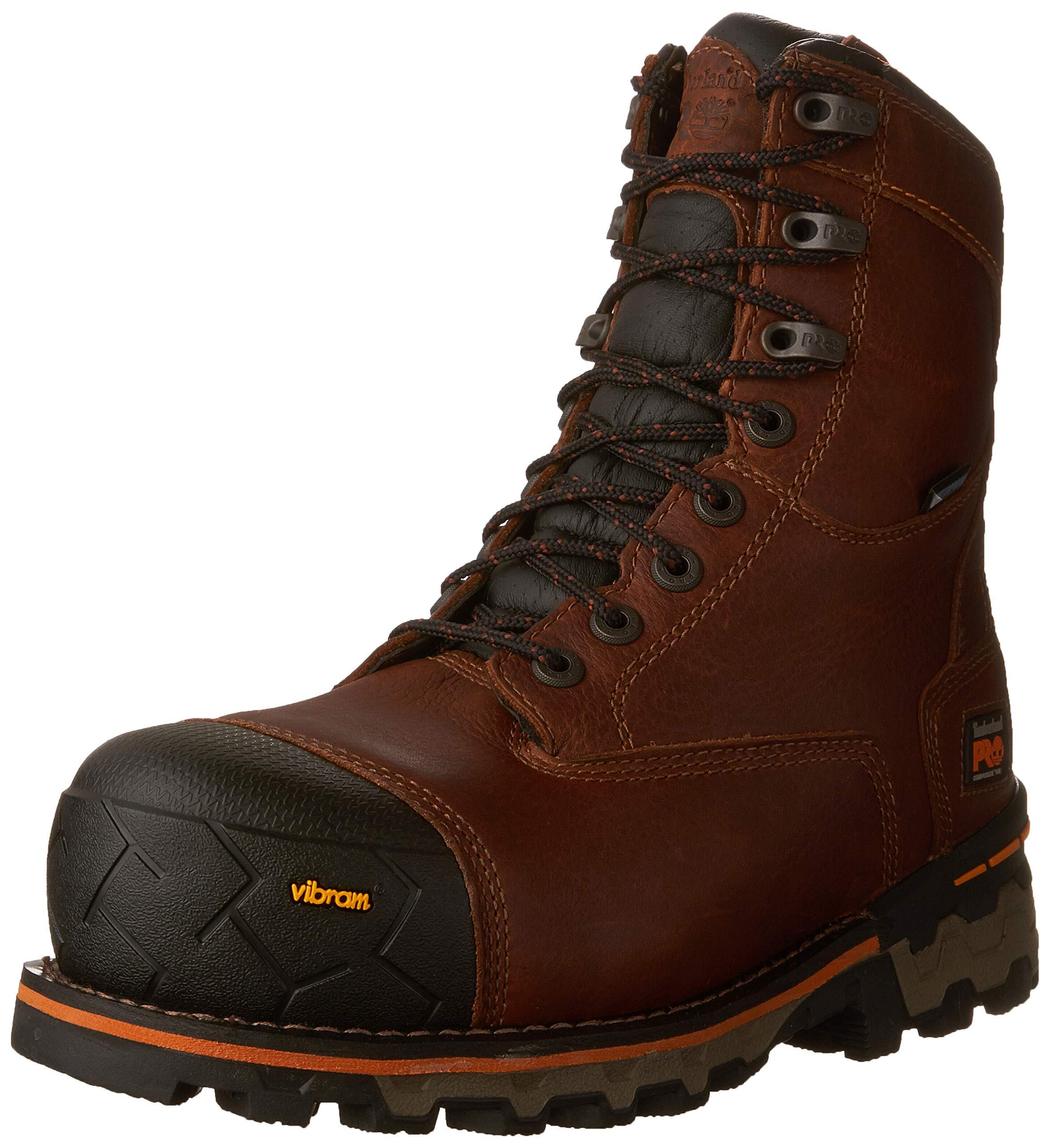 Timberland PRO Men's Boondock 8'' Composite Toe Puncture Resistant Waterproof Industrial Boot, Brown 8 W US
