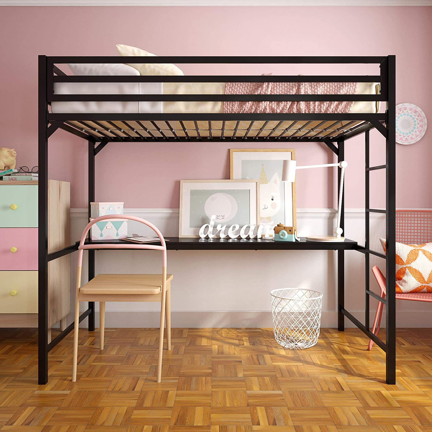 Amazon.com: DHP 4307029 Miles Twin Metal Loft Bed with Desk, Space-Saving Design, Black: Kitchen & Dining