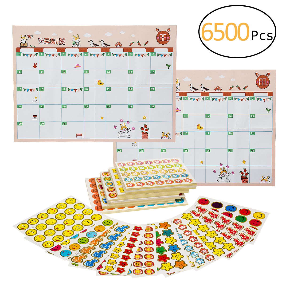 Biubee 6500 Pcs Kids Reward Stickers- 220 Sheets 11 Designs of Emojis, Smiley Face,Stars Incentive Stickers for Teachers Classroom School Bulk Use