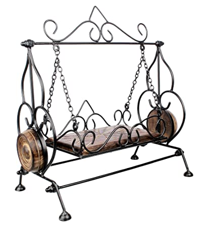 Bridge2shopping Handmade Wrought And Cast Iron Wooden Swing