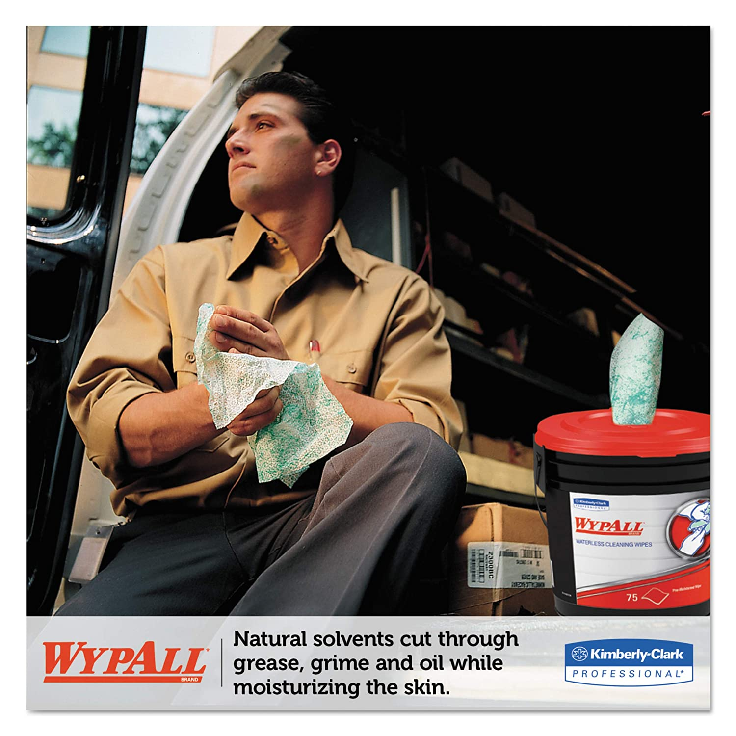 WypAll 91371CT Waterless Hand Wipes Cloth 9 x 12 75 per Bucket Case of 6 Buckets