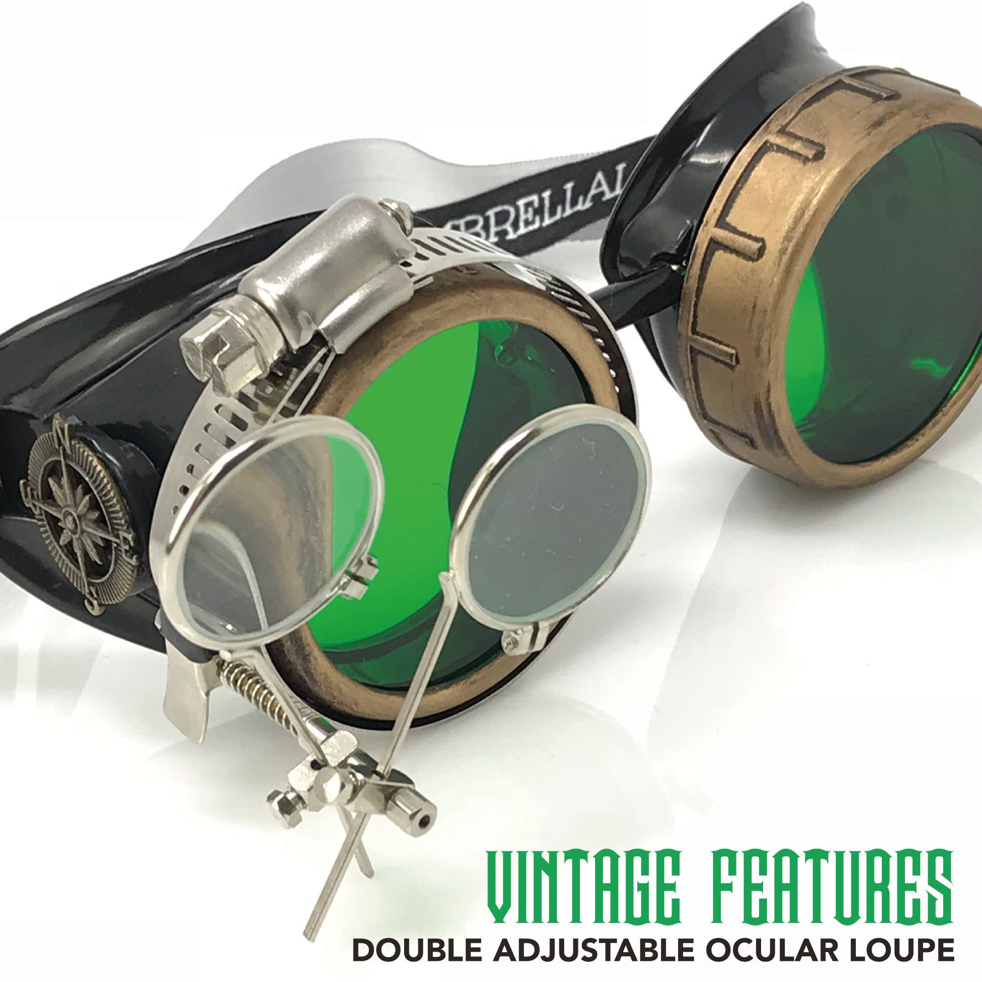 Steampunk Victorian Style Goggles with Compass Design, Emerald Green Lenses & Ocular Loupe by UMBRELLALABORATORY (Image #3)