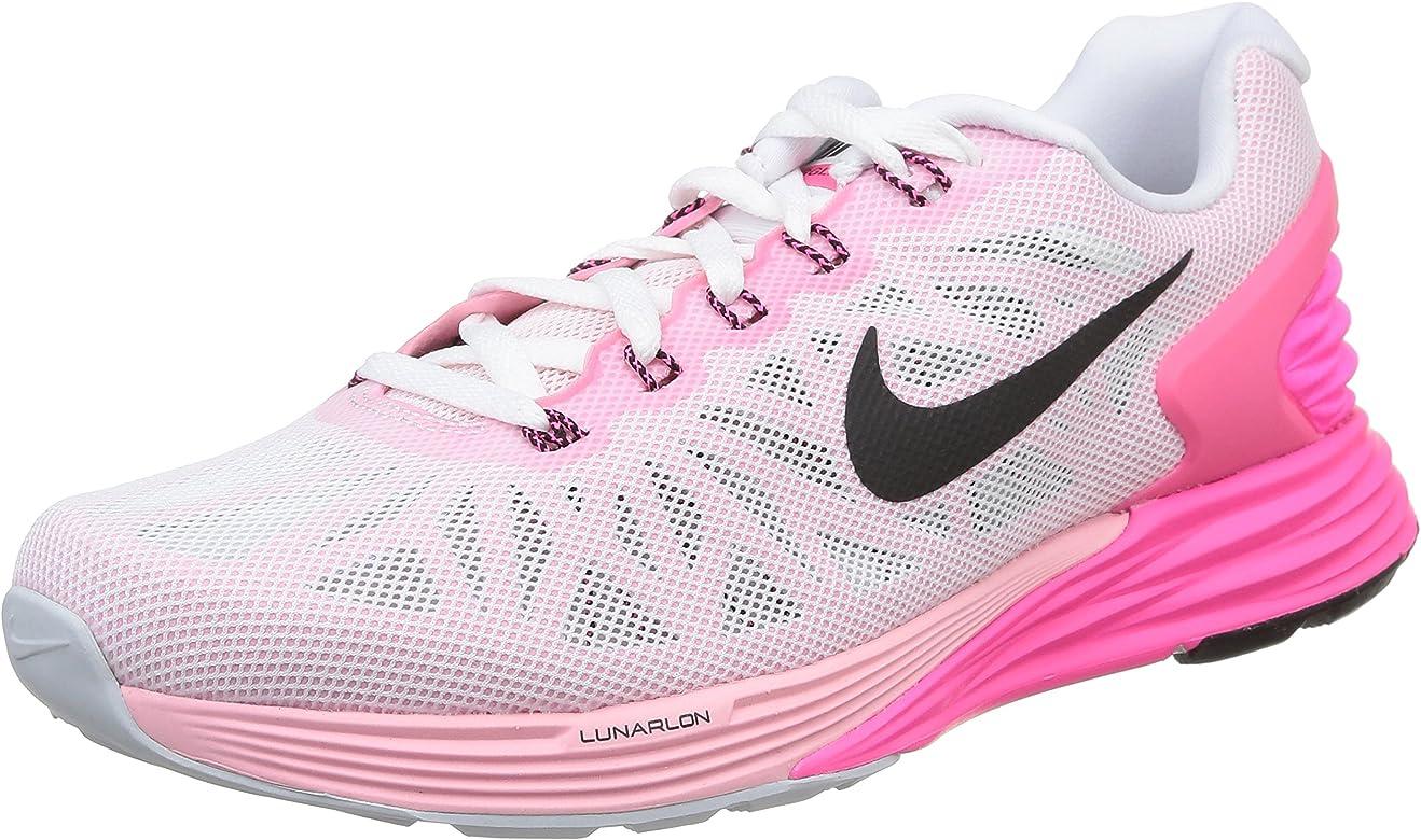 Nike Wmns Lunarglide 6 - Zapatillas de running Mujer, Blanco (White / Black-Pink Pow-Spc Pink), 38.5: Amazon.es: Zapatos y complementos