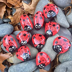 1 1/2 to 2 inch Ladybug rocks for garden, painted ladybug rocks, set of 10, garden rocks, ladybug decor, ladybug decorations, ladybug garden painted rocks, ladybug kindness rocks, ladybug paperweight
