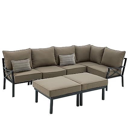 Amazon Com Sandhill 7 Piece Outdoor Sofa Sectional Set Seats 5