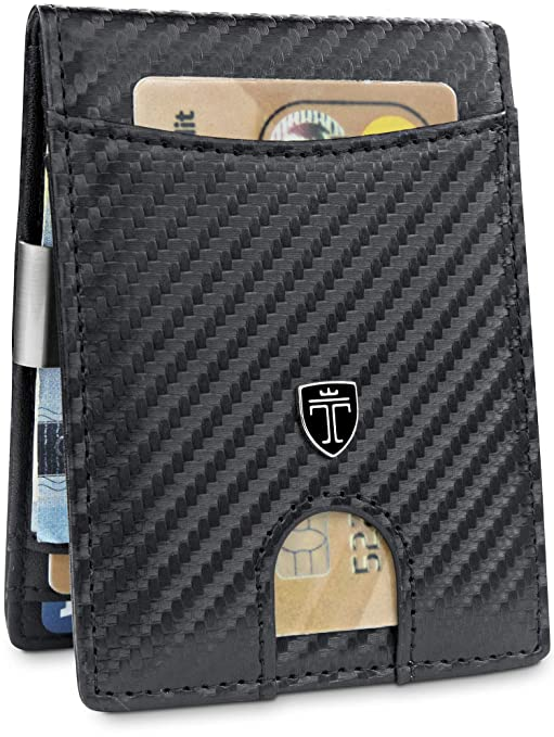 """359b3dd5db TRAVANDO Portafoglio uomo piccolo con protezione RFID """"SEATTLE"""" Porta carte  di credito con clip"""