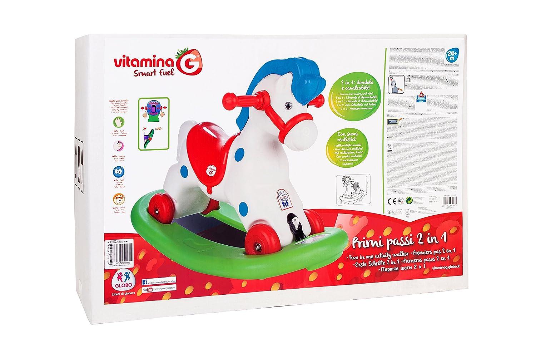 Globo Toys Globo – 5167 36 -5 x 51 x 77 cm 2-in-1-VITAMINA _ G Schaukelpferd und Ride On Spielzeug