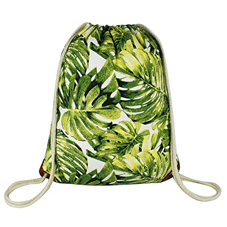 e95a521661e3 Amazon.com  Leaf Drawstring Backpack with Pocket Canvas Leather Reinforced  Corners Gym Sackpack Monstera Leaves Backpack for Women Men  ArmoFit