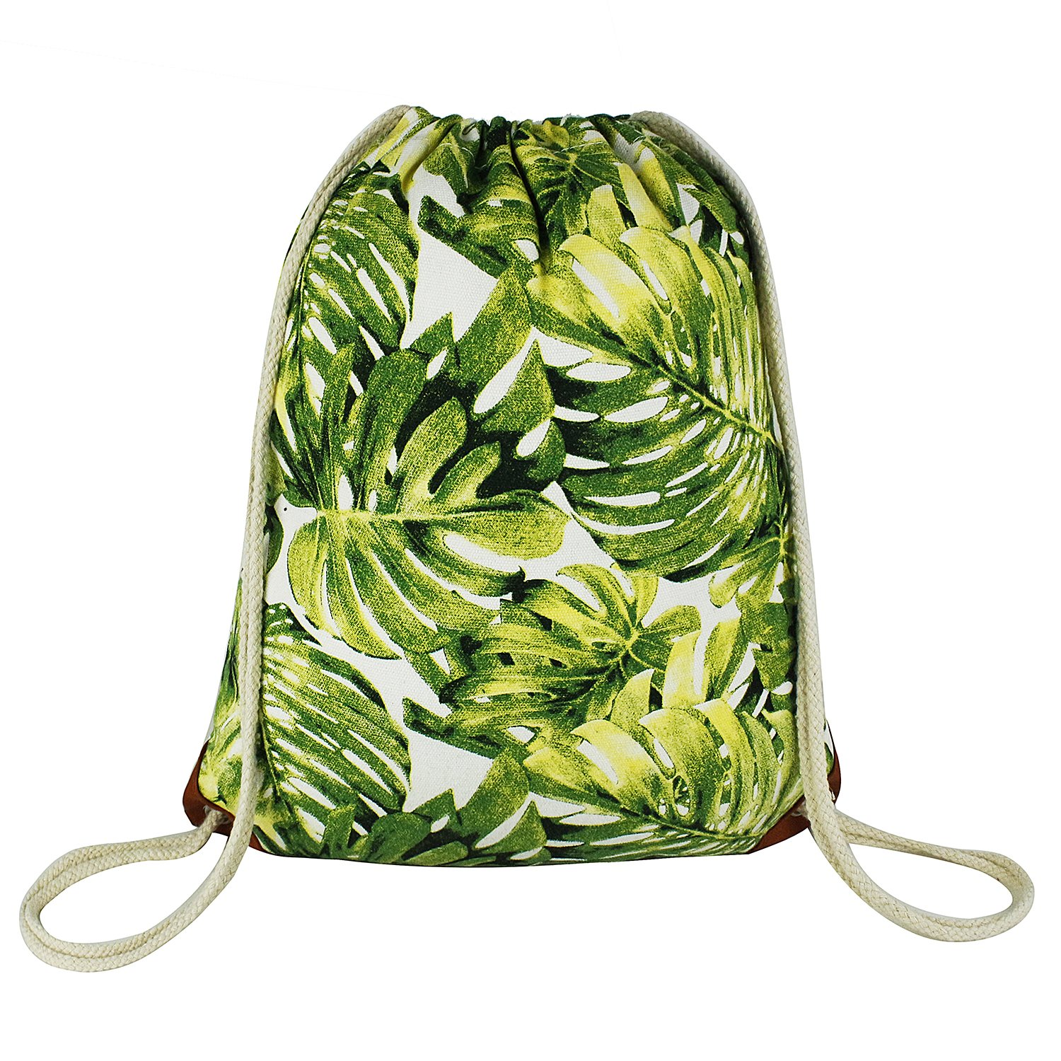 ArmoFit Leaf Drawstring Backpack with Pocket Canvas Leather Reinforced Corners Gym Sackpack for Women & Men (Monstera)