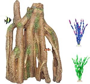 PINVNBY Decaying Tree Root Aquarium Resin Driftwood Aquarium Decoration Wood Trunk Log Fish Tank Hideouts Cave Decor with Reptile Climb for Betta Fish Shrimp Lizard Gecko