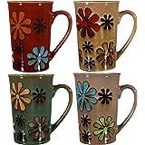 Home Essentials Coffee 16oz Round Latte Colored Mug Set OF 4