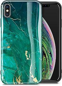 "GVIEWIN Marble iPhone Xs Case/iPhone X Case, Ultra Slim Thin Glossy Soft TPU Rubber Gel Phone Case Cover Compatible iPhone X/iPhone Xs 2018, 5.8""(Green/Gold)"