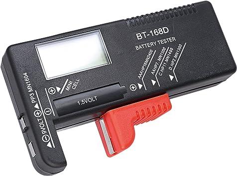 Cutebility BT168D Testeur de capacit/é de Batterie num/érique LCD pour Piles AA 9 V 1,5 V AA AAA Cell C D Voltm/ètre Amp/èrem/ètre Multim/ètre num/érique