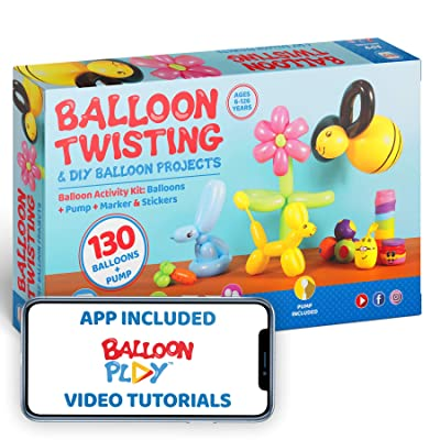 Deluxe Balloon Animal Kit with App | 130 Balloons in 4 different Shapes + balloon pump + Stickers + Marker + Balloon App with 40+ video tutorials, fun gift for all ages: Toys & Games