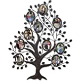 Asense Decorative 10 Oval Openings 4.5 By 5.5 Inch Black Metal and Glass Family Tree Wall Hanging Collage Picture Photo Frame;