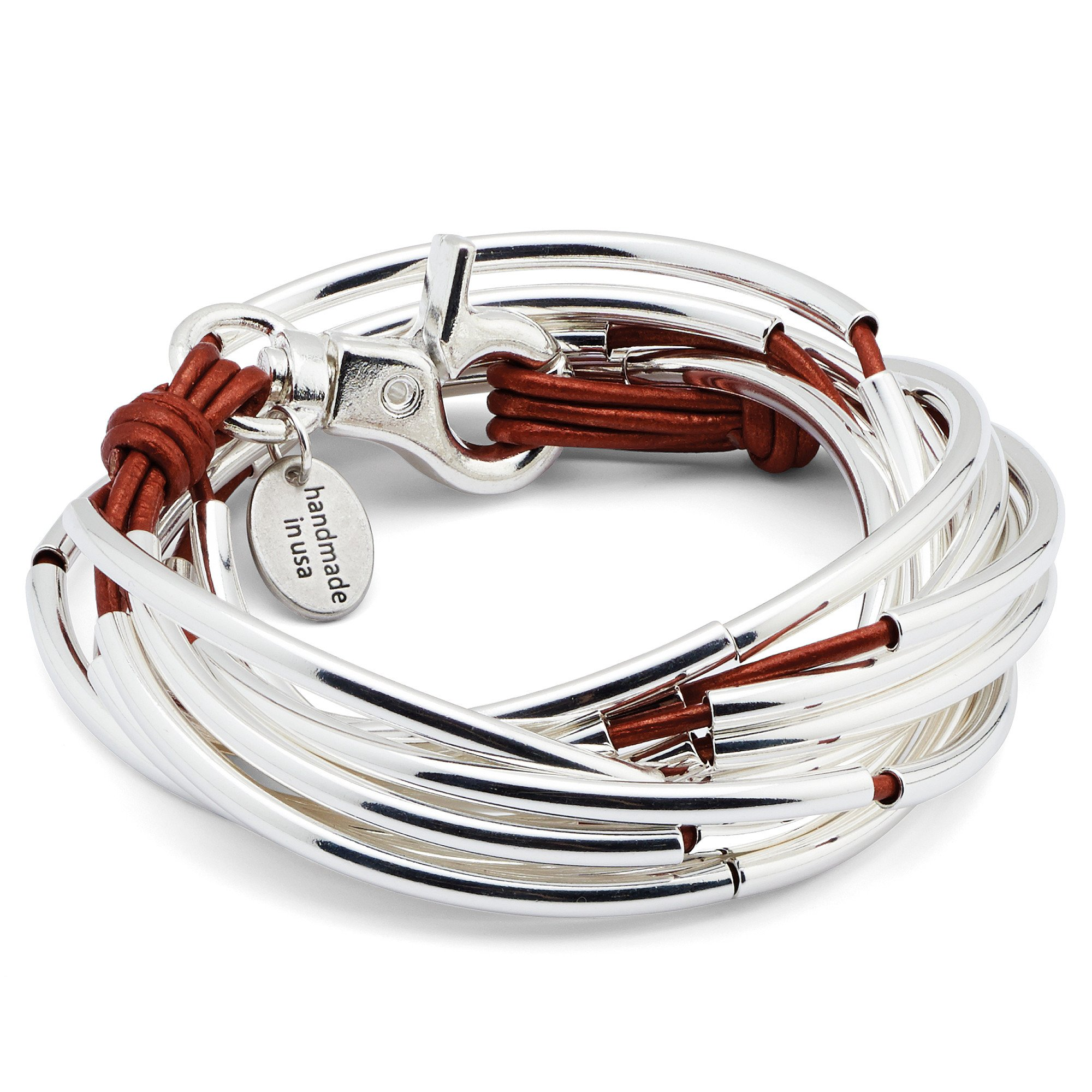 Mini Lexi 5 Strand XXLarge Bracelet With Metallic Moroccan Red Leather by Lizzy James