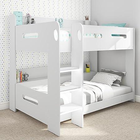 Litera infantil en color blanco con estanterías de almacenamiento y escalera movible a cualquier lado: Amazon.es: Hogar
