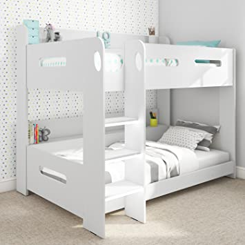 Sky White Single Wooden Bunk Bed Ladder Can Be Fitted Either Side