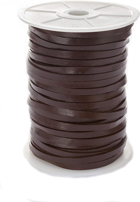 Banda de cuero plana, 5mm x 1,5mm,color/longitud: a elegir., marrón, 5 m