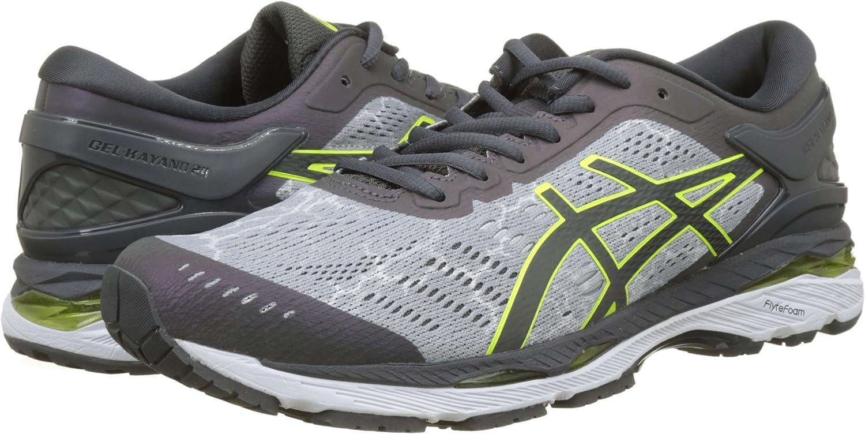 Asics Gel-Kayano 24 Lite-Show, Zapatillas de Running para Hombre, Gris (Mid Grey/Dark Grey/Safety Yellow 9695), 48 EU: Amazon.es: Zapatos y complementos
